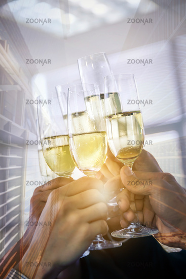 business celebration double exposure
