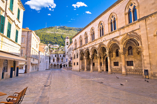 Tourist stone street in Dubrovnik morning view