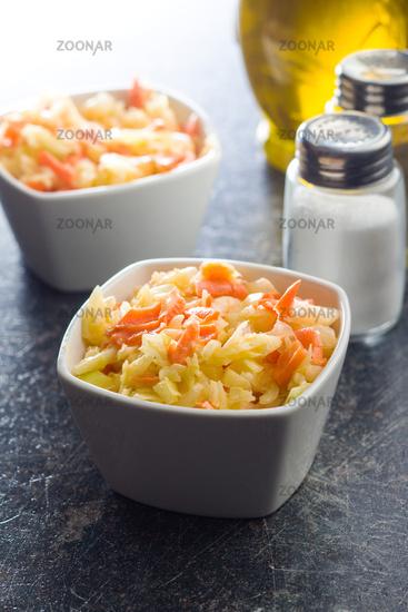 Bowl of coleslaw.