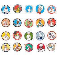 Chef Baker Cook Circle Cartoon Set