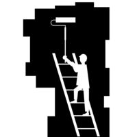 Painter with Roller Painting Wall. Worker on Ladder Paints Home. Renovation and Repair Service Concept