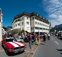 Bad Ragaz, SG / Switzerland - 23 June, 2019: racers and guests enjoy the oldtimer car exhibition and race competions at the ninth annual Heidiland Classic Oldtimer Car Race and exhibition