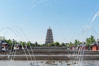 big wild goose pagoda and fountain square
