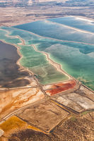 Dead Sea Israel landscape nature salt extraction portrait format from above aerial view Jordan