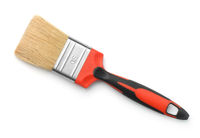 Flat red handled paintbrush