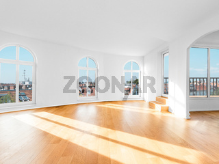 empty room in penthouse apartment flat with wooden floor -