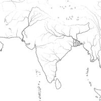 World Map of INDIAN SUBCONTINENT: India, Pakistan, Hindustan, Himalayas, Tibet, Bengal, Ceylon. Geographic chart.