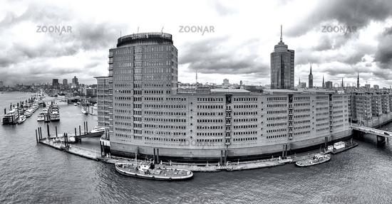 Port City Hamburg, Panorama, B+W