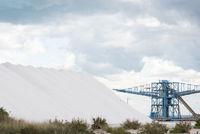 heap of sea salt production lot near coast