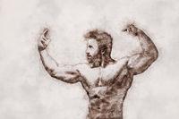 muscular man ball pen doodle