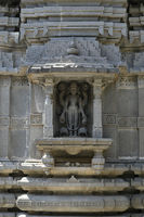 Stone masonry Shikhara with carvings of statue of Vishnu the God at Vitthal Temple, Palashi, Parner, Ahmednagar