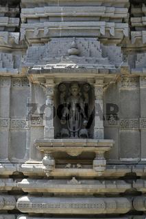 Stone masonry Shikhara with carvings of statue of Vishnu the God at Vitthal Temple, Palashi, Parner, Ahmednagar