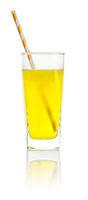 An orange soft drink with a straw