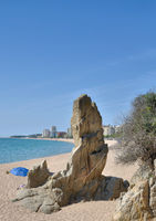 Cavall Bernat Rock,local Landmark of Platja d`Aro,Costa Brava,Catalonia,mediterranean Sea,Spain