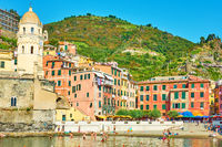 Beach and waterfront in Vernazza