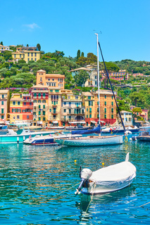 Portofino town and boats in the harbour