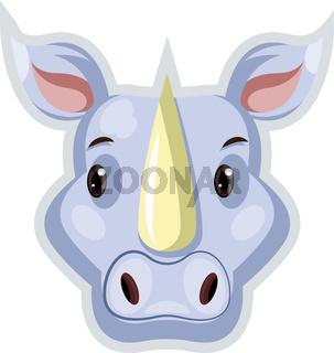 Blue rhinoceros, illustration, vector on white background.