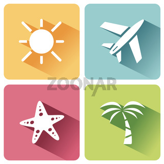 Four summer and tourism icons set with shade. Second group