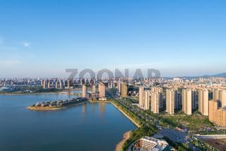 jiujiang cityscape on lakeside