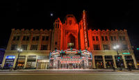 April 12, 2019 - Oakland, California: Fox Oakland Theatre at night with a crescent moon.