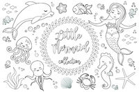 Cute little mermaid and underwater world set Coloring book page for kids. Collection of design element, outline, doodle style. Kids baby clip art antistress. Vector illustration