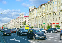 Independense avenue traffic Minsk Belarus