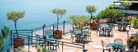 Horizontal imag empty open air restaurant at Amalfi coast, southern Italy