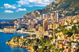Monaco cityscape and coastline colorful nature of Cote d'Azur view