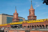 Berlin, Germany, U-Bahn crosses the Oberbaum Bridge between Kreuzberg and Friedrichshain