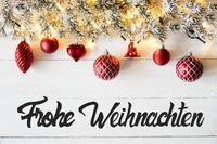 Red Balls, Calligraphy Frohe Weihnachten Means Merry Christmas