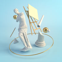 3d illustration concept of the ancient art, statue of Venus de Milo, column, easel, education, creative