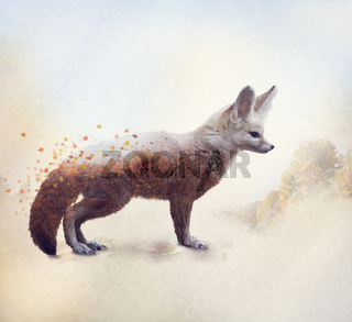 Double exposure of a Fennec Fox and autumn trees
