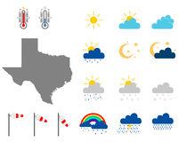 Karte von Texas mit Wettersymbolen - Map of Texas with weather symbols