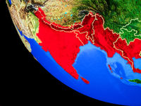 BIMSTEC memeber states on Earth from space