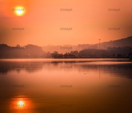 Sunrise over Xuan Huong Lake, Dalat, Vietnam