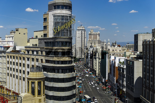 Madrid, Spain Gran Via panoramic view.