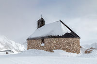 Church Maria Heimsuchung at the summit of Zugspitze mountain in winter