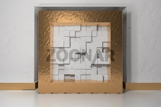 Minimalism, mock up poster, 3d illutration interior. Golden frame in a niche in the white plastered wall filled with white chaotic shifted boxes blocks
