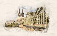 Watercolor Cologne Cathedral and Bridge