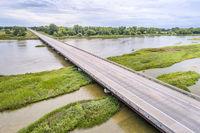 bridge over Platte River in Nebraska - aerial view