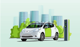 Electric car charging at charger station, cityscape on background