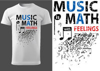 T-shirt with Musical Slogan and Music Notes
