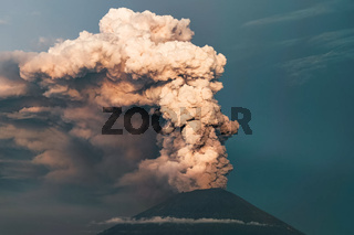 Eruption. Clubs of smoke and ash in the atmosphere