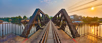 The bridge on the river Kwai. Railway in Kanchanaburi, Thailand. Panorama