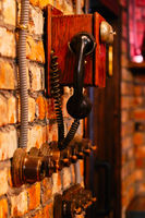 Steam punk telephone and turning on off lighting switches