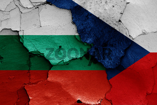 flags of Bulgaria and Czech Republic painted on cracked wall