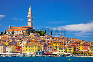 Town of Rovinj ancient architecture and waterfront view