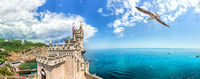 Beautiful Swallow Nest in Crimea, summer day panorama