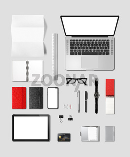 Office desk branding mockup top view isolated on grey