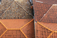 old and new roof tiles, housetops, Funchal, Madeira, Portugal, Europe